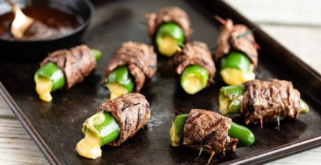 Sirloin wrapped jalapeño poppers